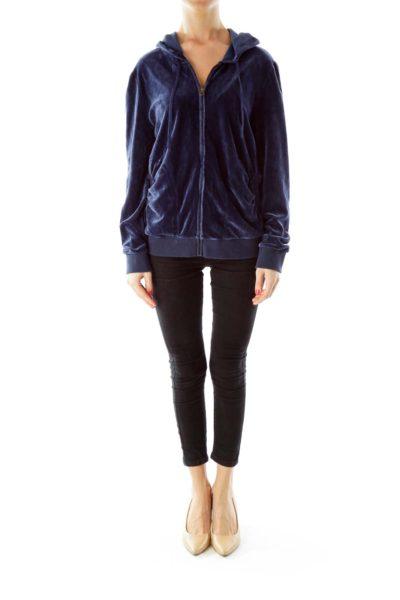 Navy Velvet Hooded Sweatshirt