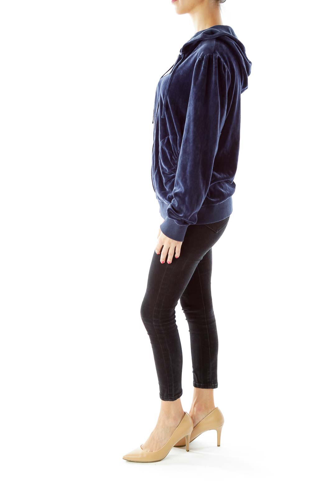 Navy Velvet Hooded Sweatshirt