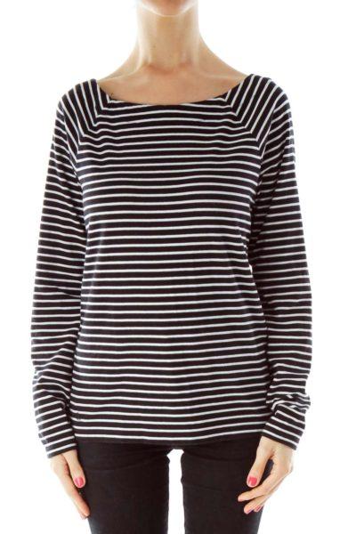 Black White Stripe Round Neck Top