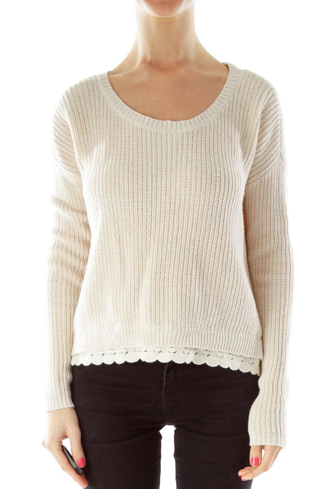 Beige Crocheted Knit