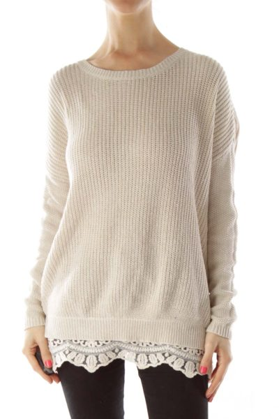 Beige Knit with Lace Detail