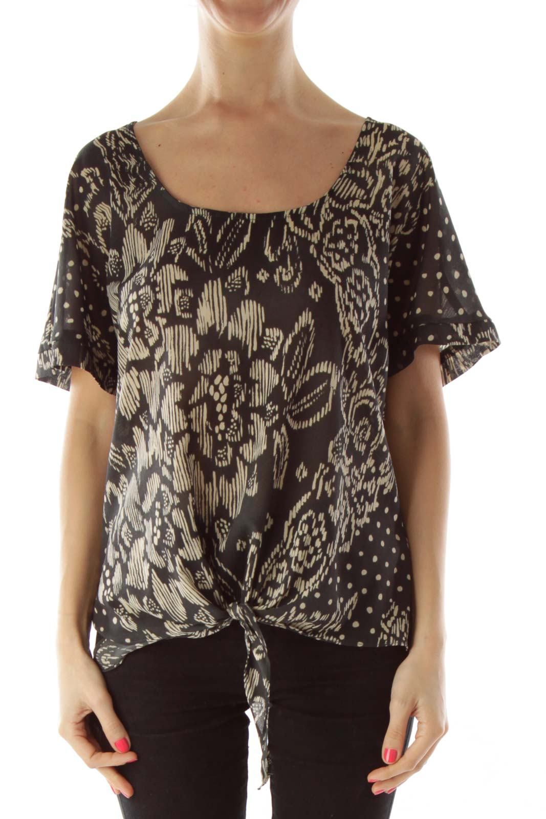 Black Beige Print Blouse