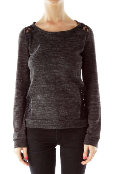 Gray Mottled Lace Top