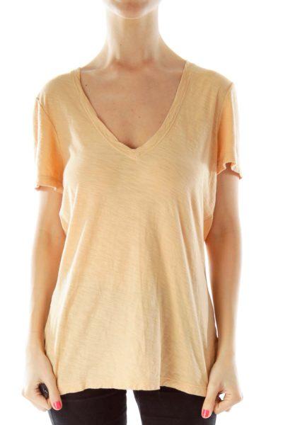 Beige V-Neck Linen T-Shirt