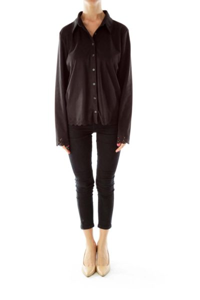 Black Scalloped Detail Shirt