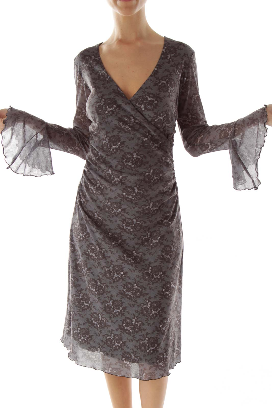 Gray Black Bell Sleeve Day Dress