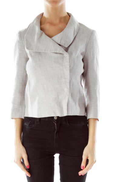 Gray White Cropped Jacket