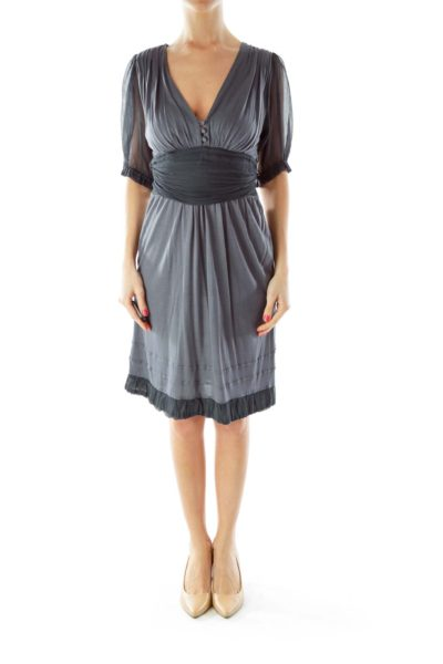 Gray Chiffon V-Neck Dress