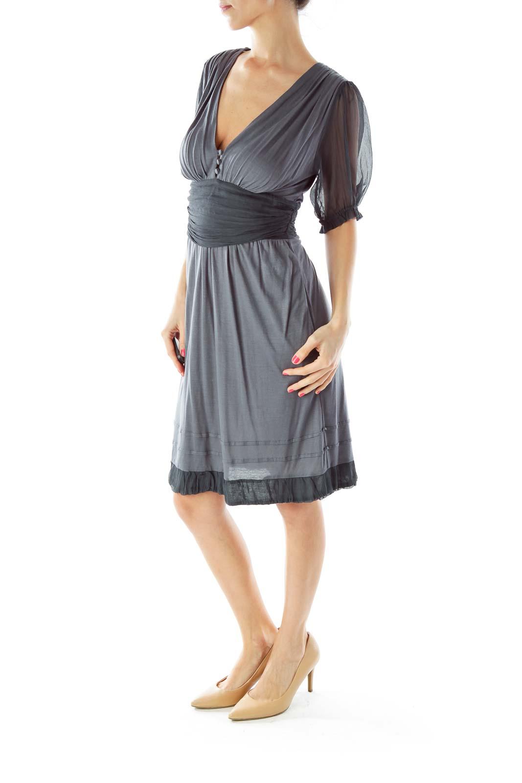 Gray Chiffon V-Neck Dress