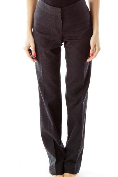 Black Textured Pants