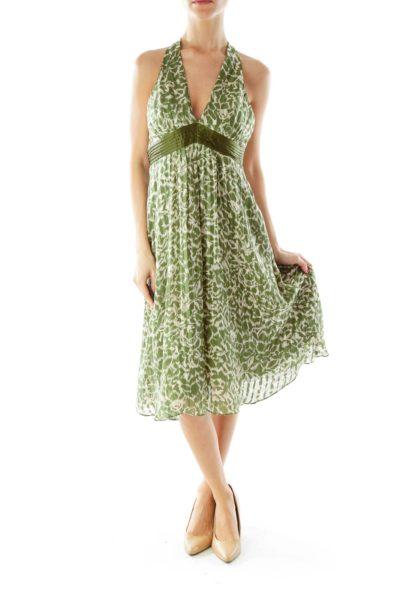 Green White Halter Dress