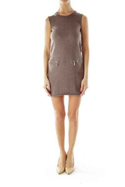Brown Wool Knit Dress