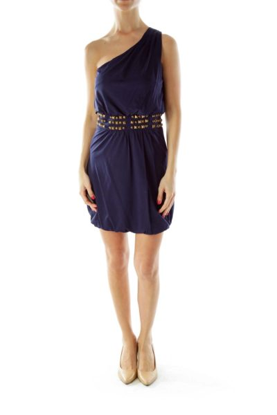 Blue Studded Cocktail Dress