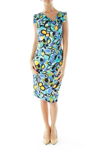 Blue Yellow Cocktail Dress
