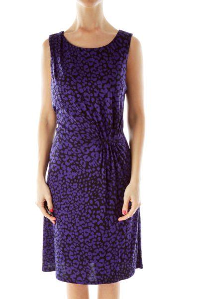 Black Purple Leopard Print Day Dress