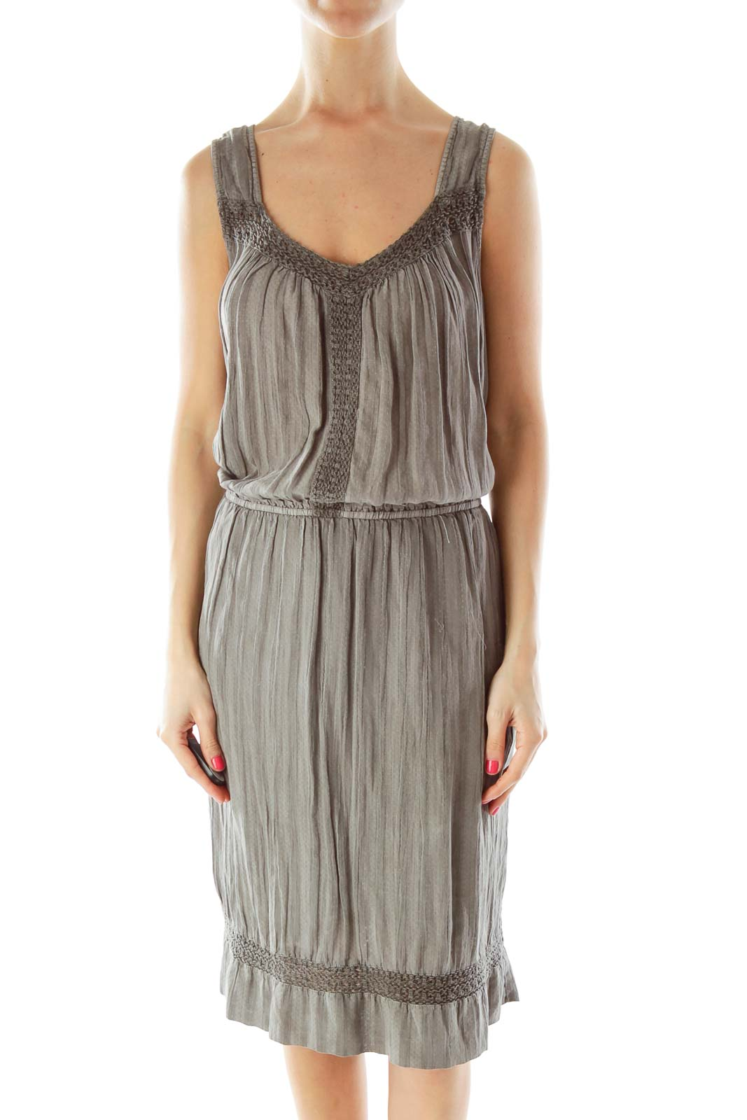 Gray Striped Day Dress