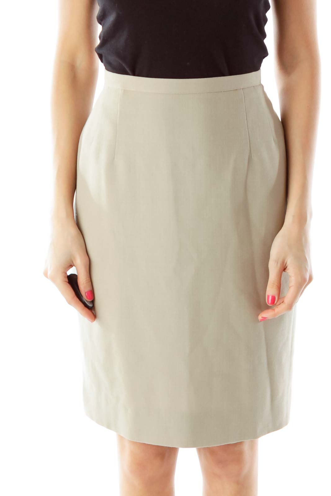 Beige Wool Pencil Skirt