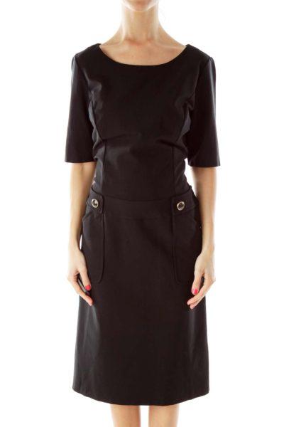 Black Short Sleeve Sheath Dress
