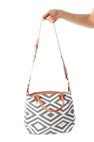 Black White Geometric Weave Tote