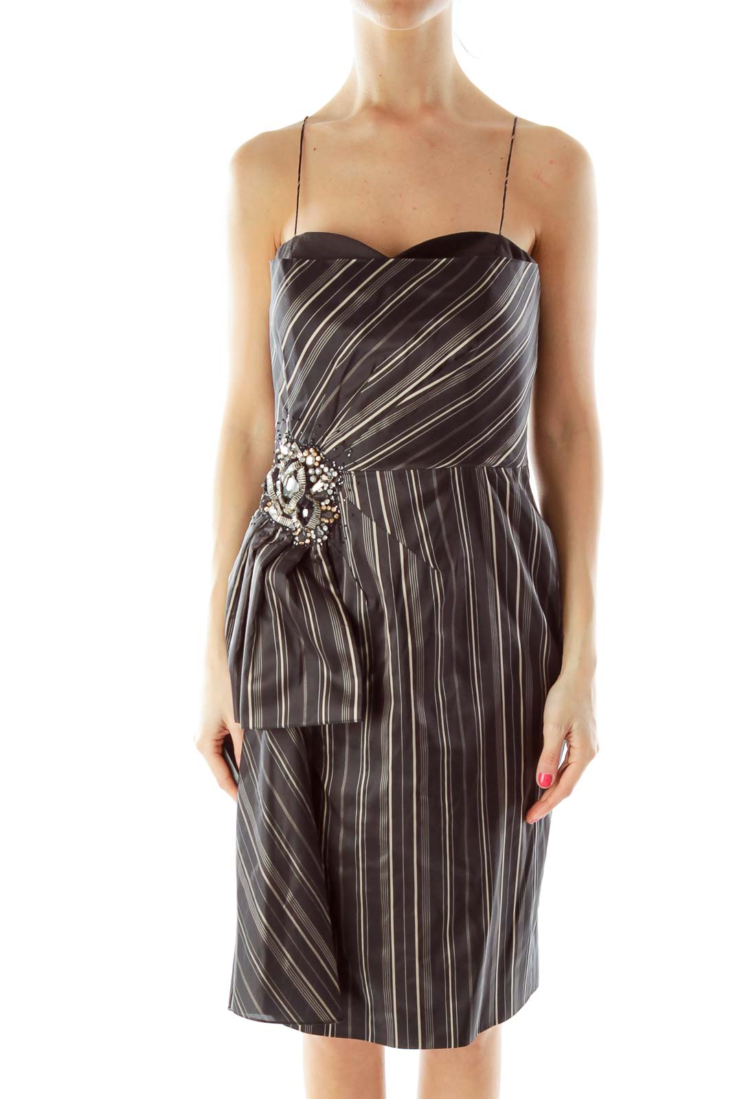 Black Pinstripe Beaded Cocktail Dress