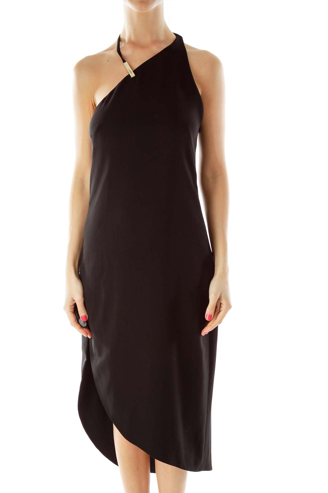 Black One Shoulder Asymmetric Dress 0442da98c5d28