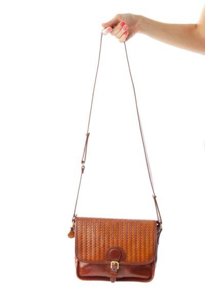 Brown Vintage Weave Detail Leather Crossbody Bag