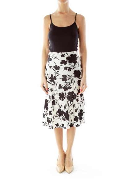 Black White Floral Silk Skirt