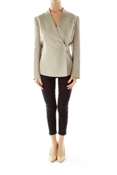 Beige V-Neck Fitted Jacket