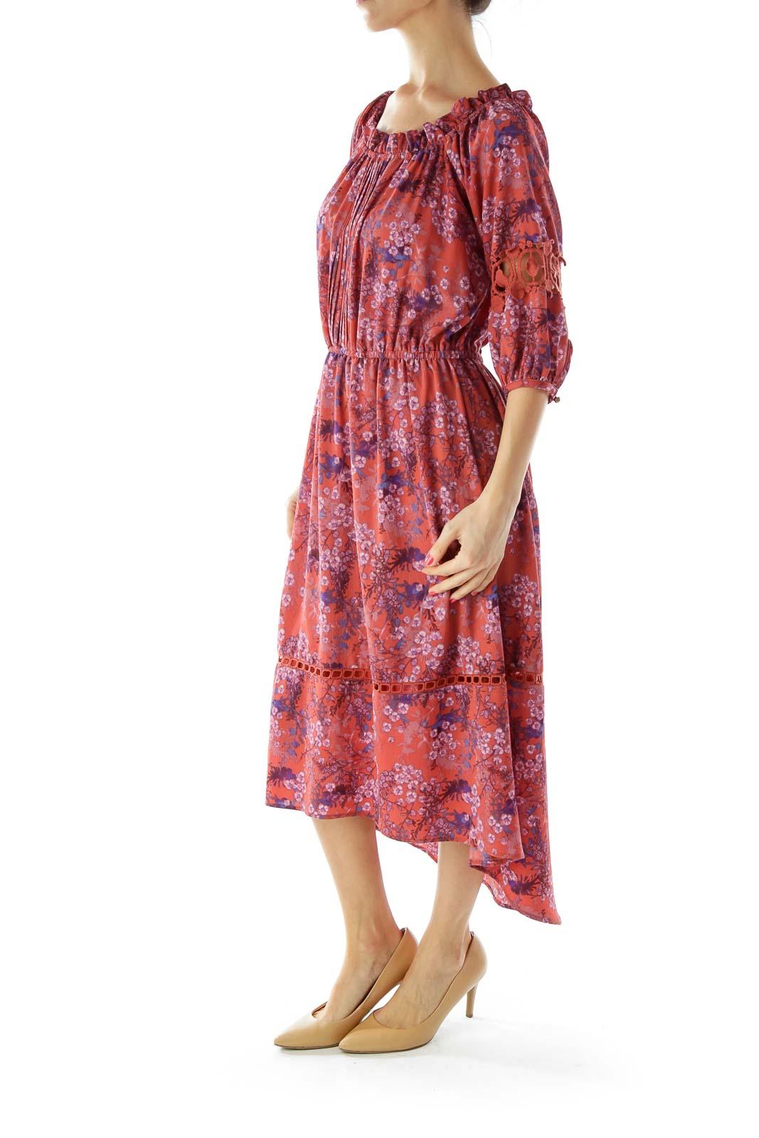 Orange Blue Floral Off-Shoulder Dress
