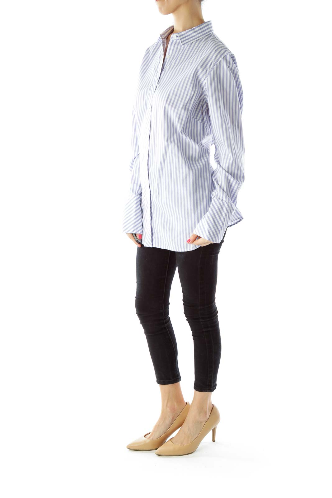 White Blue Pinstripe Shirt