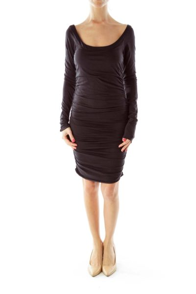 Black Fitted Scrunch Dress