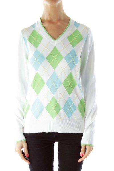 White Blue Green Argyle Sweater