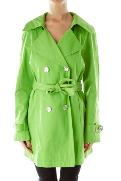 Green Double Breasted Trench Coat