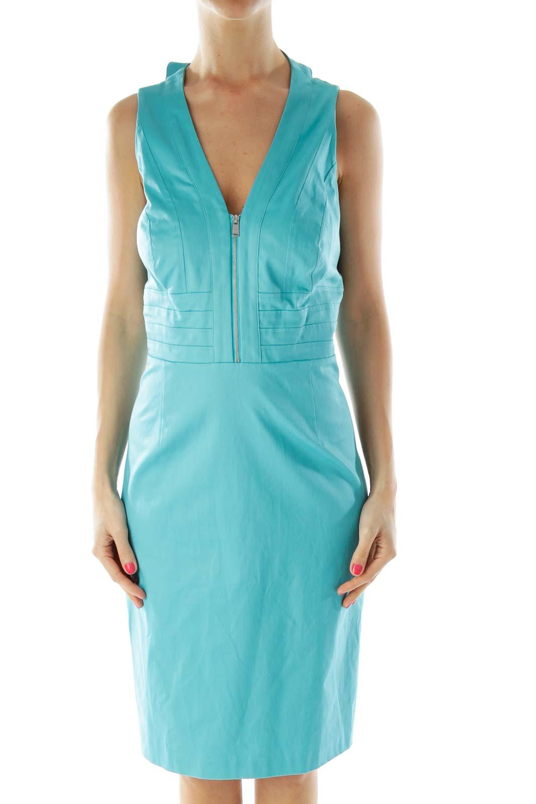 Blue Zippered Cocktail Dress