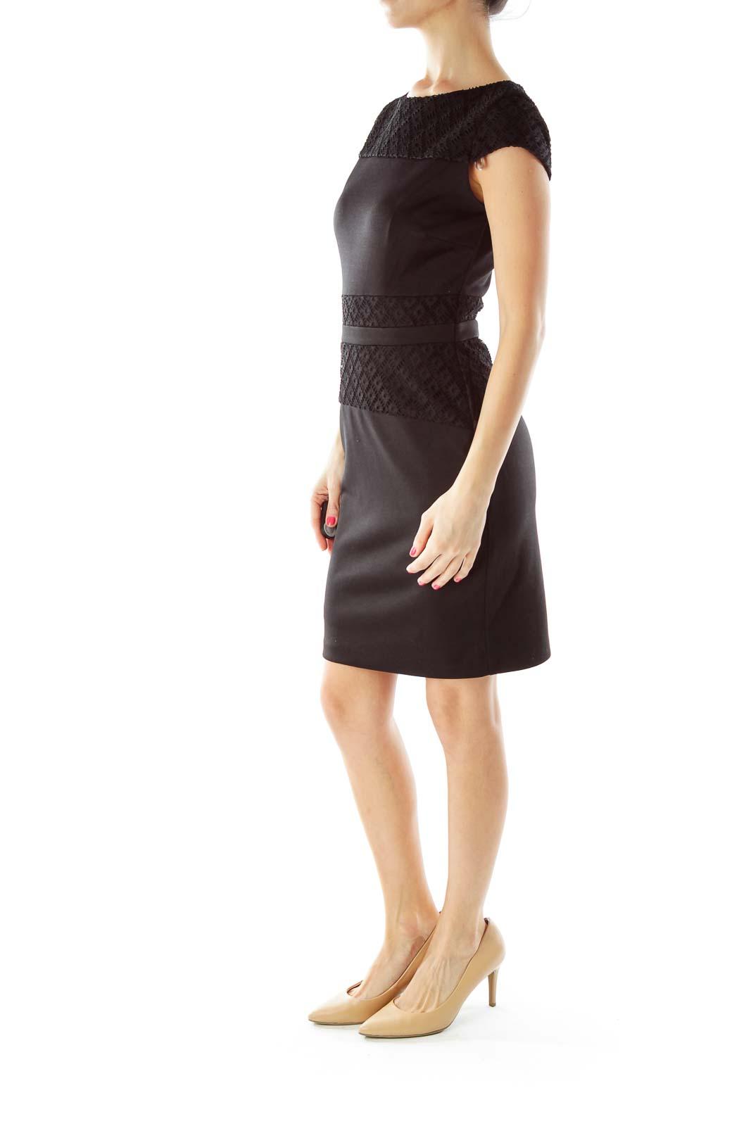 Black Crocheted Work Dress