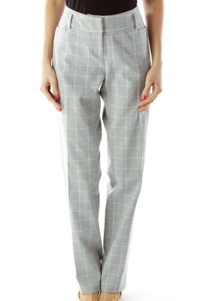 Gray White Checkered Slacks