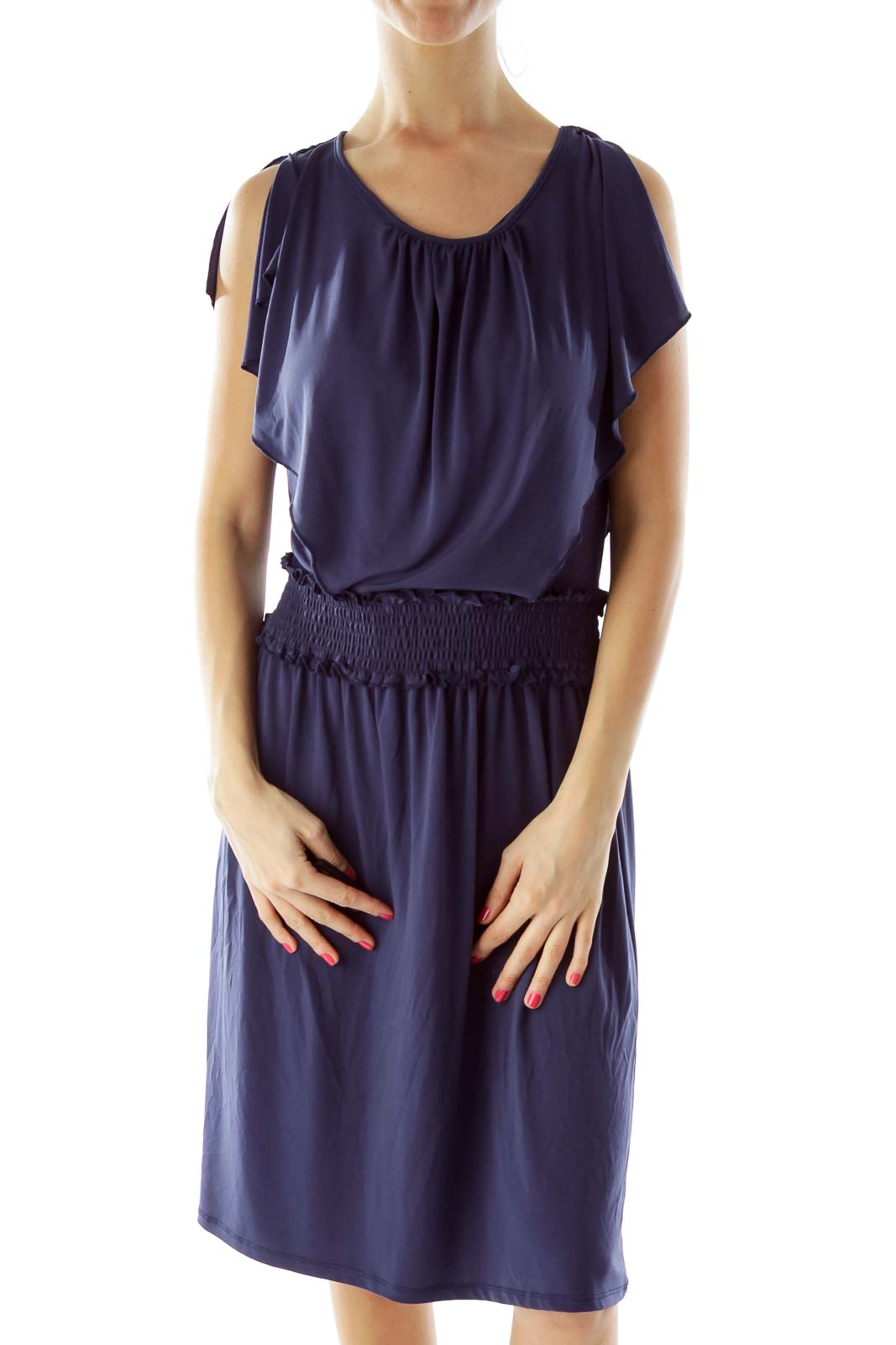 Navy Scrunched Ruffled Day Dress
