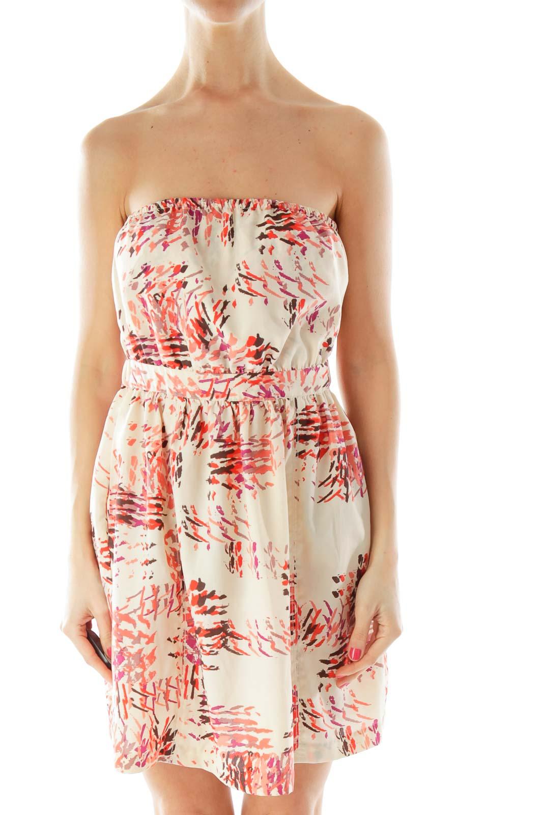 Beige Multicolor Bow Open Back Dress