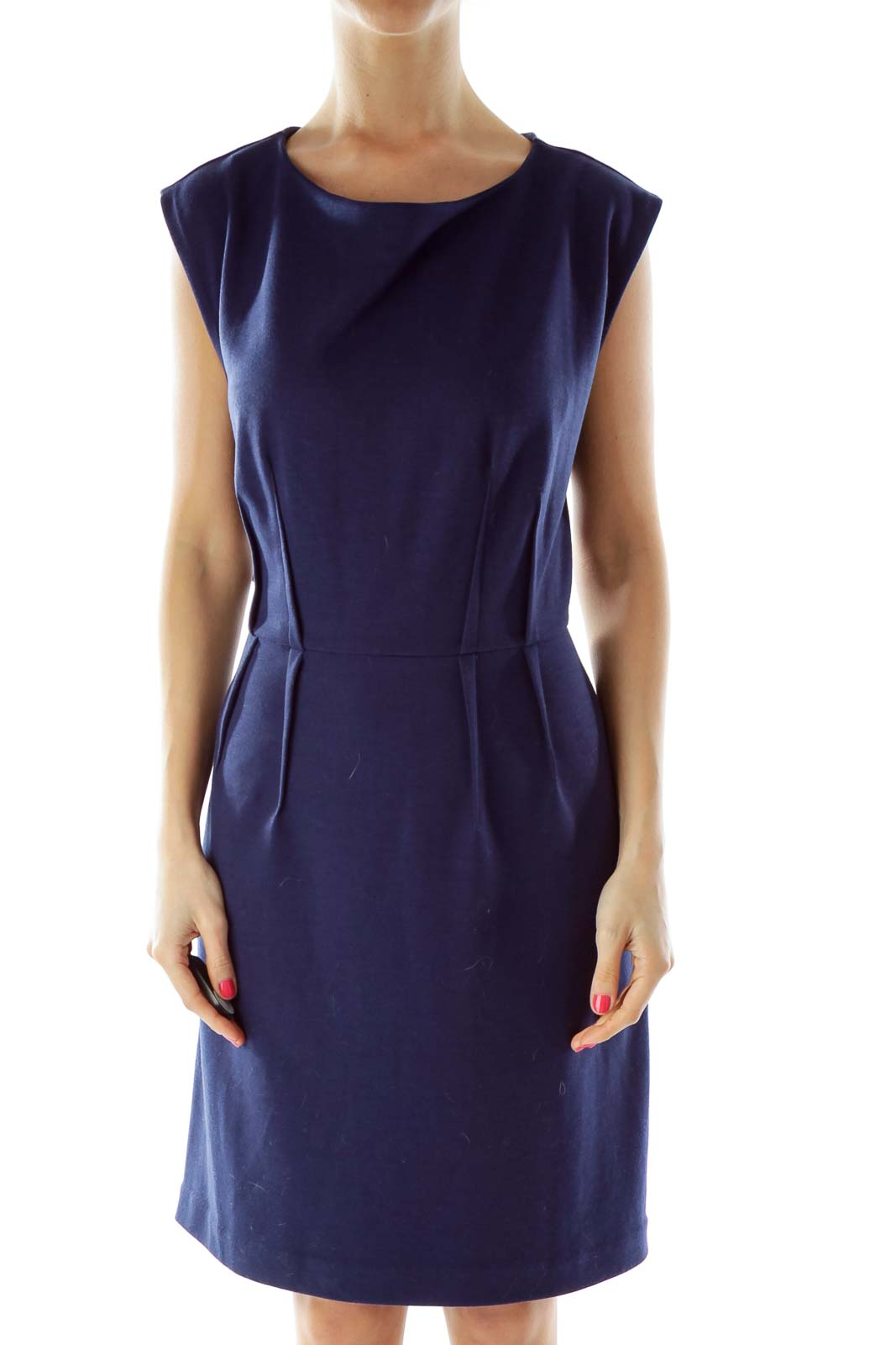 Navy Round Neck Sleeveless Work Dress