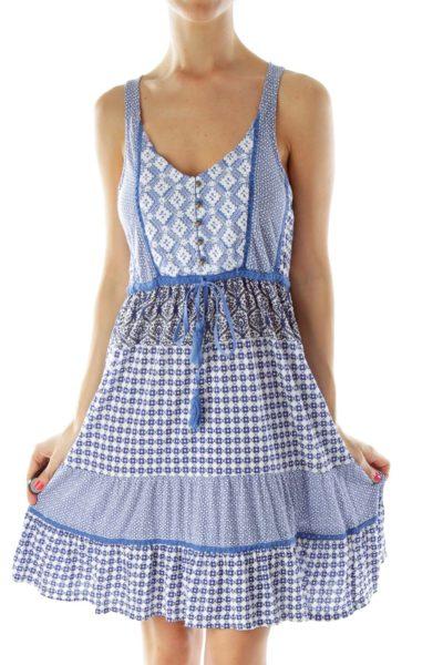Blue White Embroidered Boho Print Dress