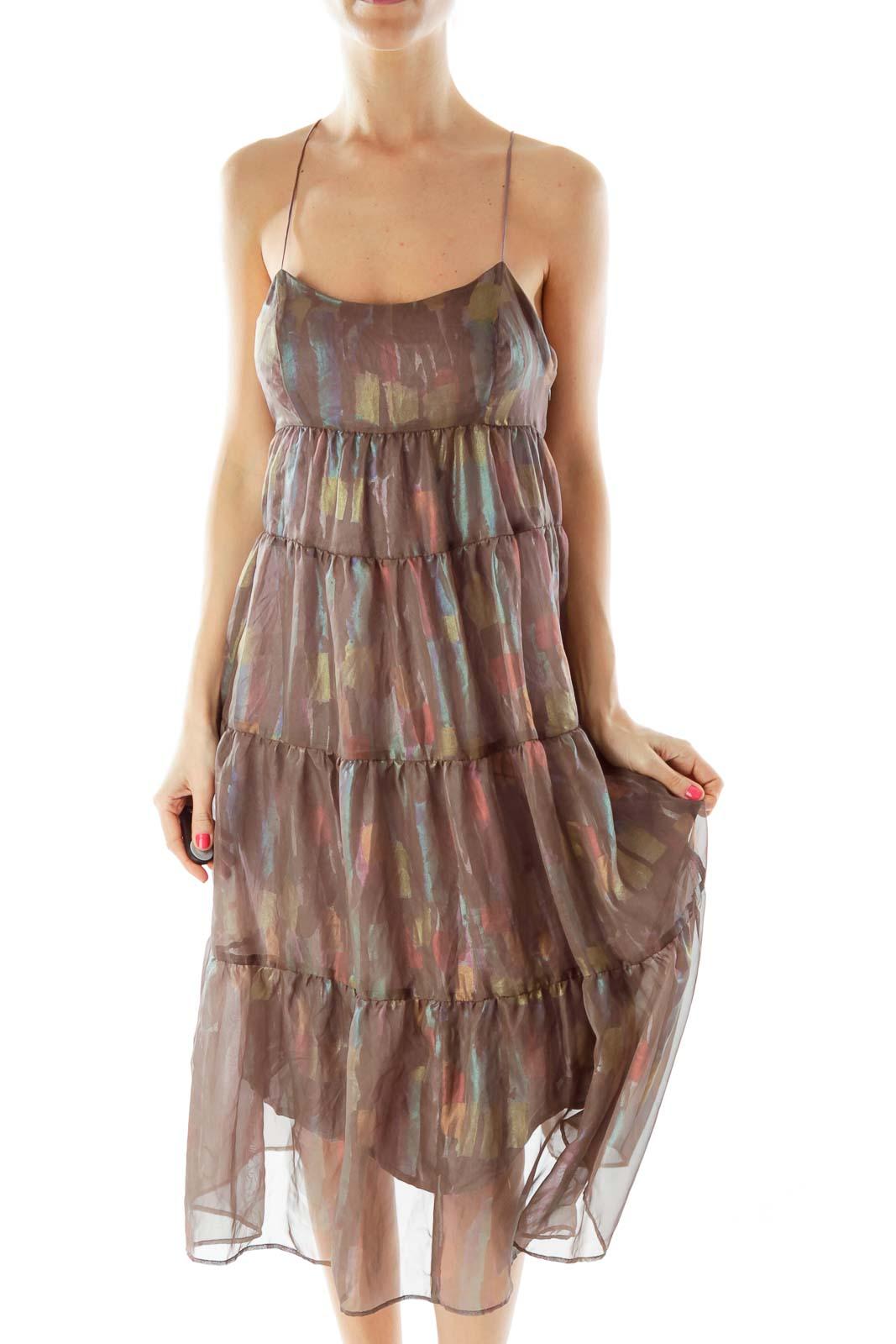 Brown Multicolor Sheer Layered Dress