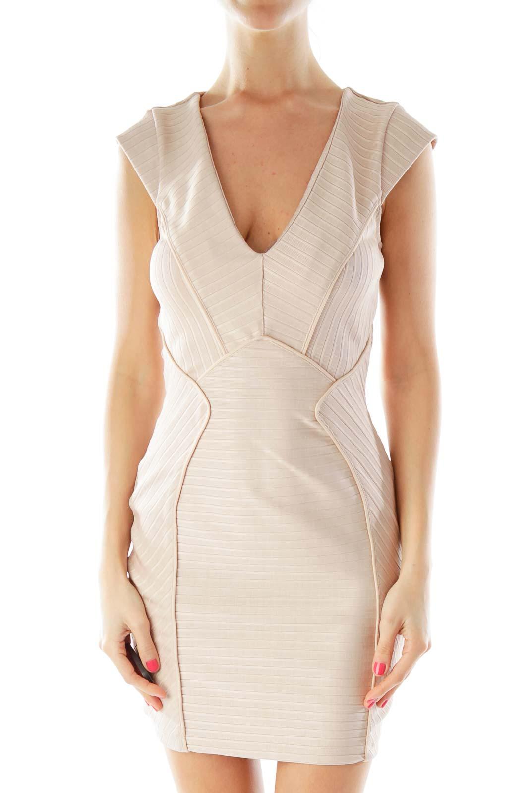 Champagne V-Neck Bodycon Dress