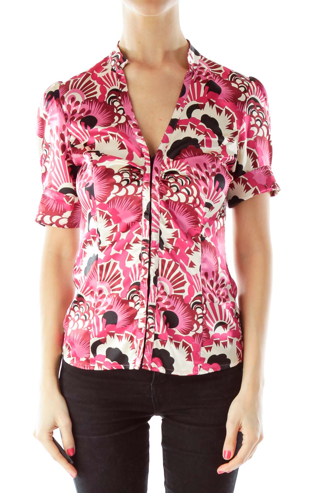 Pink V-neck Belted Floral Blouse