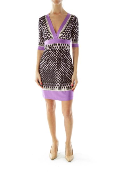 Black Purple V-neck Geometric Print Short Sleeve Dress