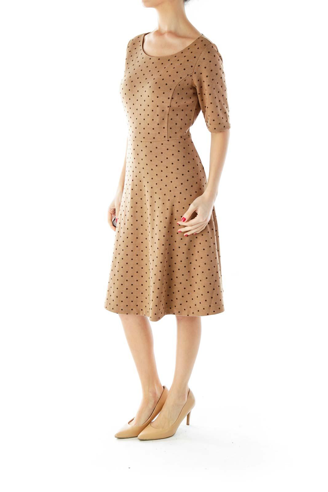 Brown Herringbone Polka-Dot Dress