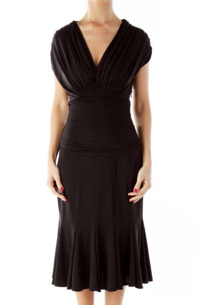 Black Scrunched Cocktail Dress