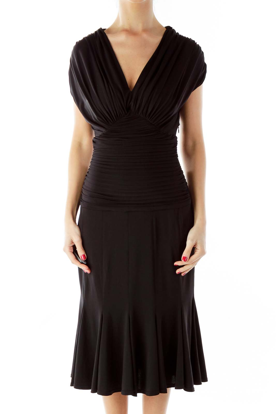 Black Scrunched Cocktail Dress