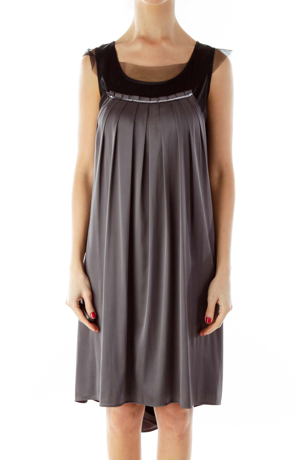 Gray Black Sequined Tent Dress
