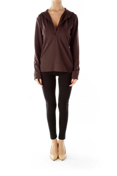 Brown Hooded Sports Top