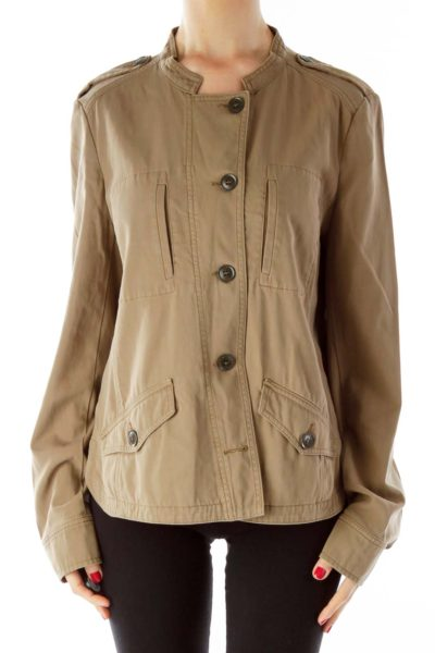 Brown Buttoned Bomber Jacket